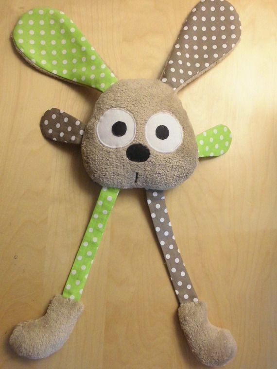 Grand doudou lapin grandes pattes taupe - vert