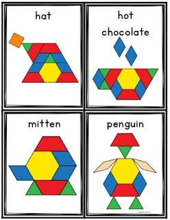 Winter Pattern Blocks Cards Winter Math Winter Math Centers