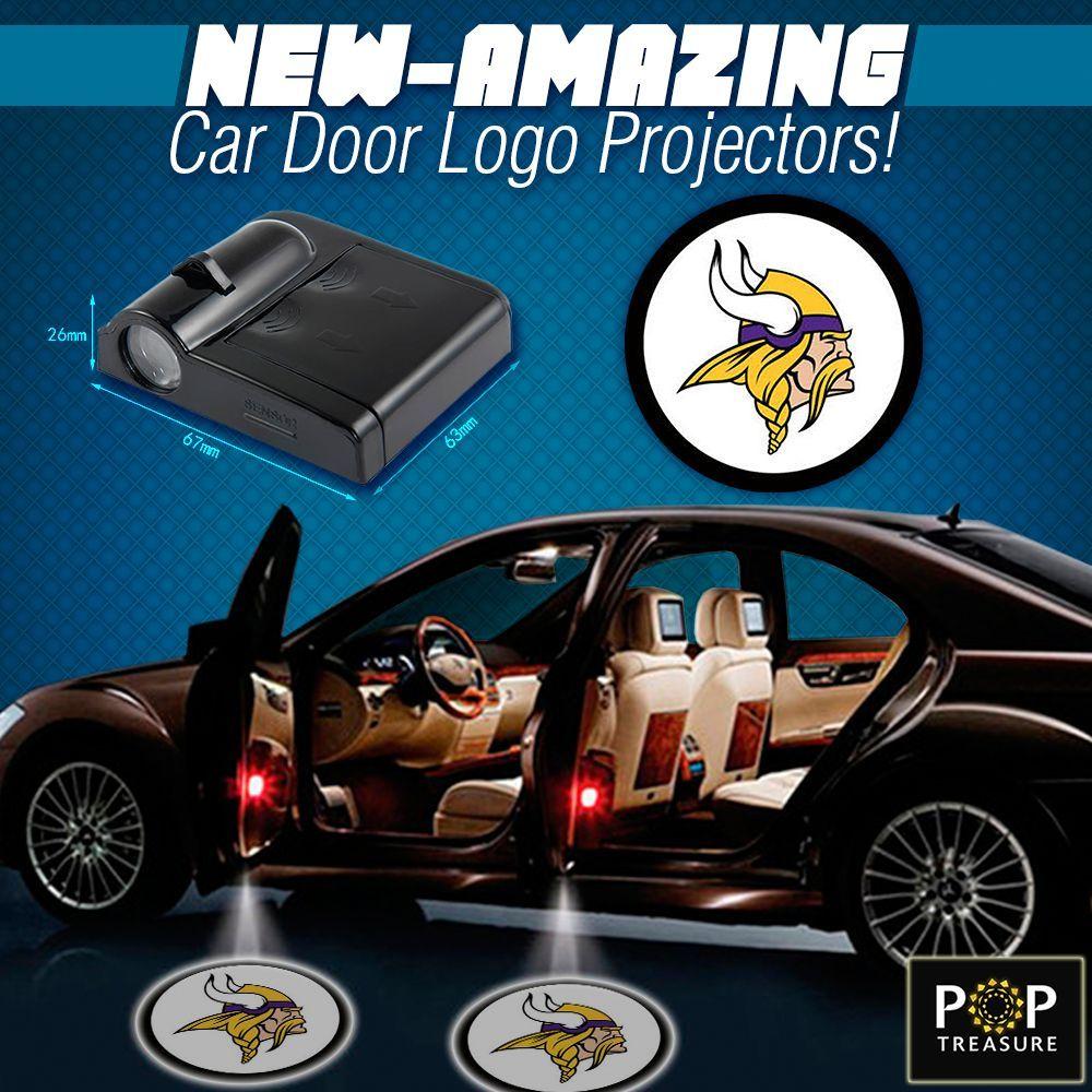 2 NFL Minnesota Vikings Wireless LED Car Door Projectors