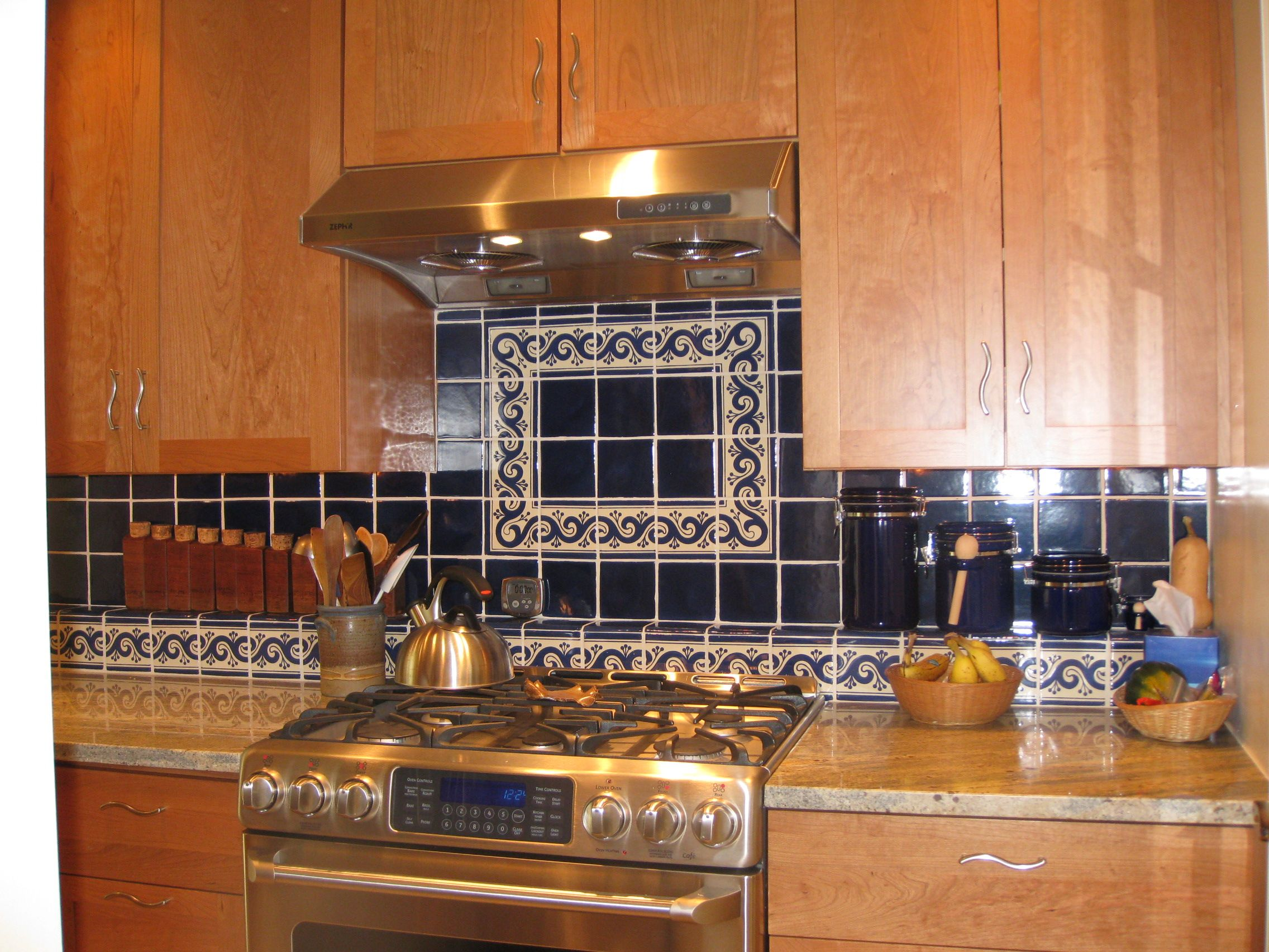 mexican backsplash tiles kitchen cherry island beautiful and stylish decorated with