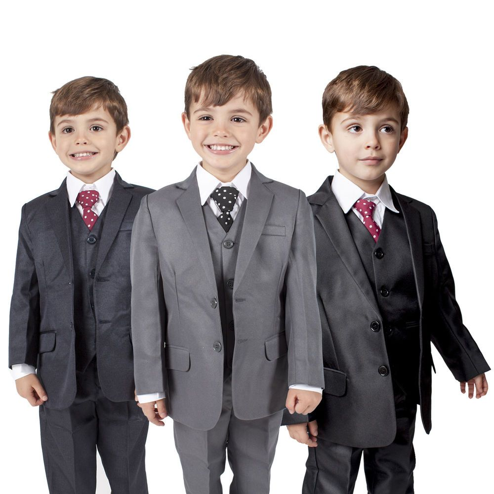 Boys Suits 5 Piece Waistcoat Suit Wedding Page Boy Baby Formal ...