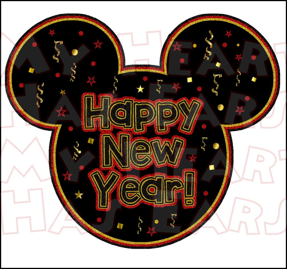 Happy New Year Mickey Mouse INSTANT DOWNLOAD digital clip
