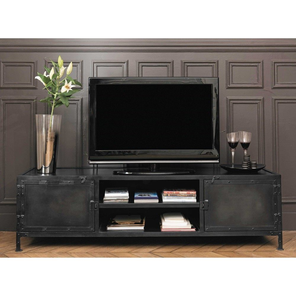 meuble tv indus en m tal noir l 150 cm meuble tv m tal noir et tv. Black Bedroom Furniture Sets. Home Design Ideas