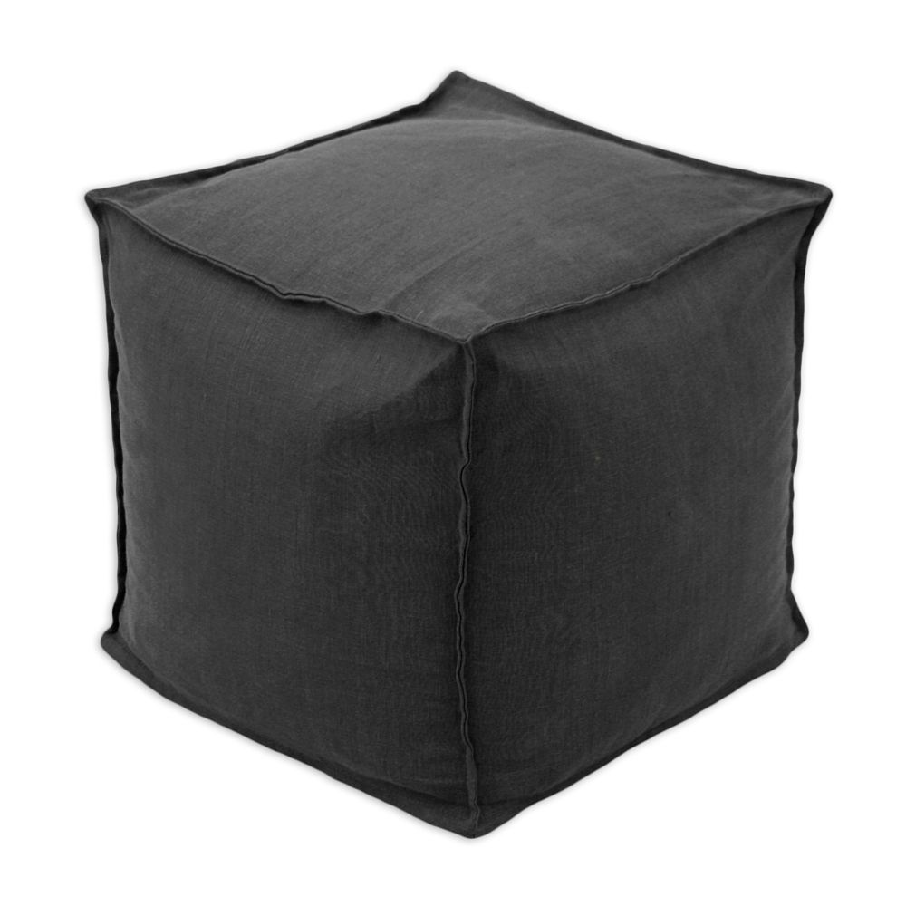 Circa Solid Night 12.5-inch Square Seamed Beads Footstool (Black ...