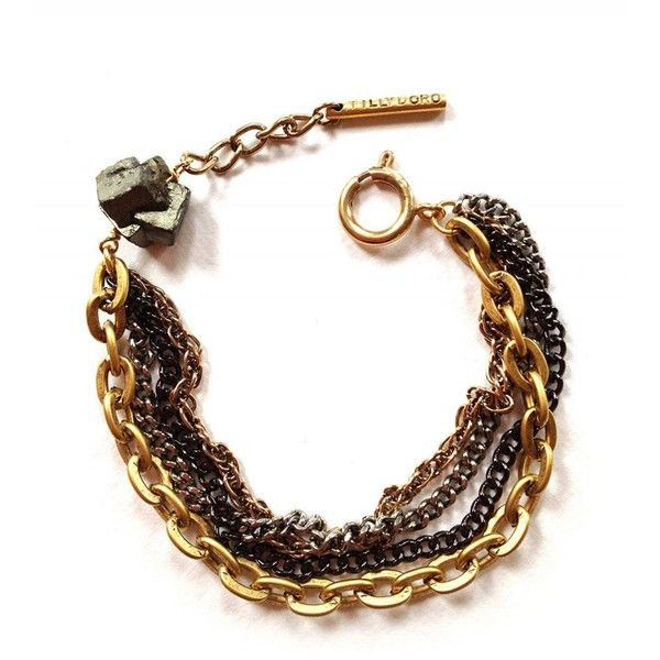Tilly Doro Black and Golden Bracelet Adorned With a Pyrite Stone (430 NOK) ❤ liked on Polyvore featuring jewelry, bracelets, golden, golden bangles, stone jewelry, black bangles, stone jewellery and stone bangles