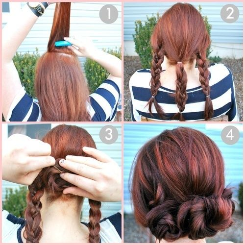 Directions:  1. Tease/Back comb your crown to create volume, and smooth hair back, with or without a part.  2. Loosely braid hair into three sections, vertically.  3. Roll braids up into buns and secure with hair pins. Wrap the outer braids around the center for a woven-style bun, or secure each bun separately next to each other for a rosette look.  4. Hairspray lightly.  5. Voila!