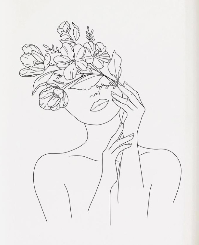 Flower Face In 2020 Flower Line Drawings Line Art Flowers Abstract Line Art