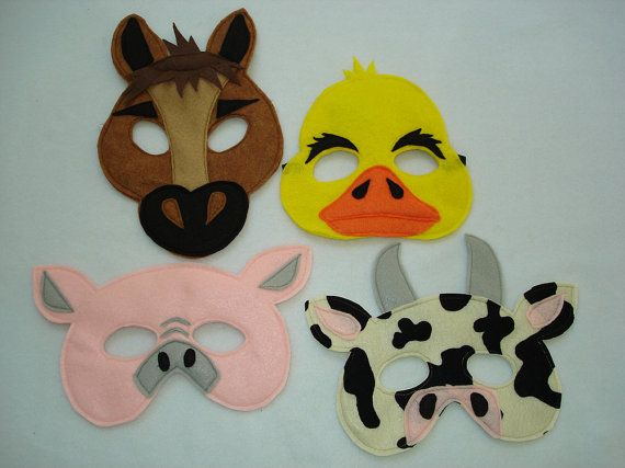 Children's Barnyard Farm Animals Felt Mini Combo of 4 Masks