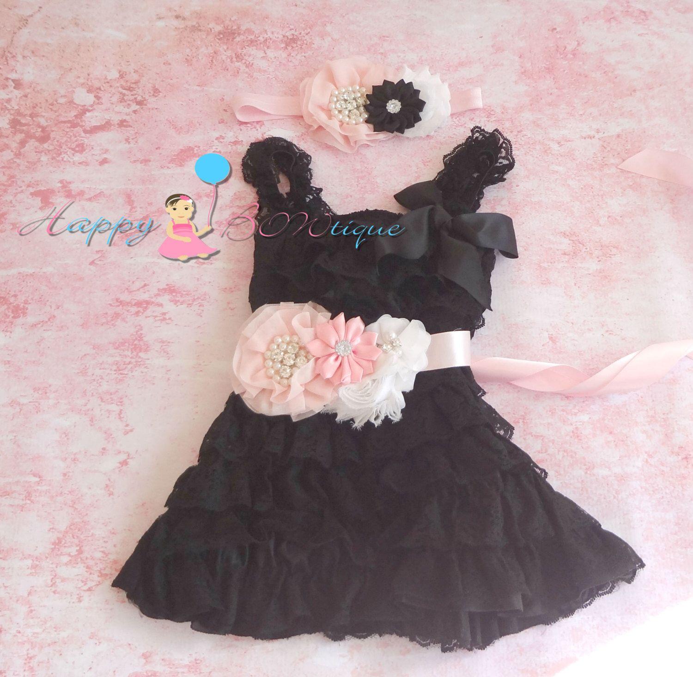 Lace dress pink  Blush Pink and Black lace dress Flower girls dress Girls Black