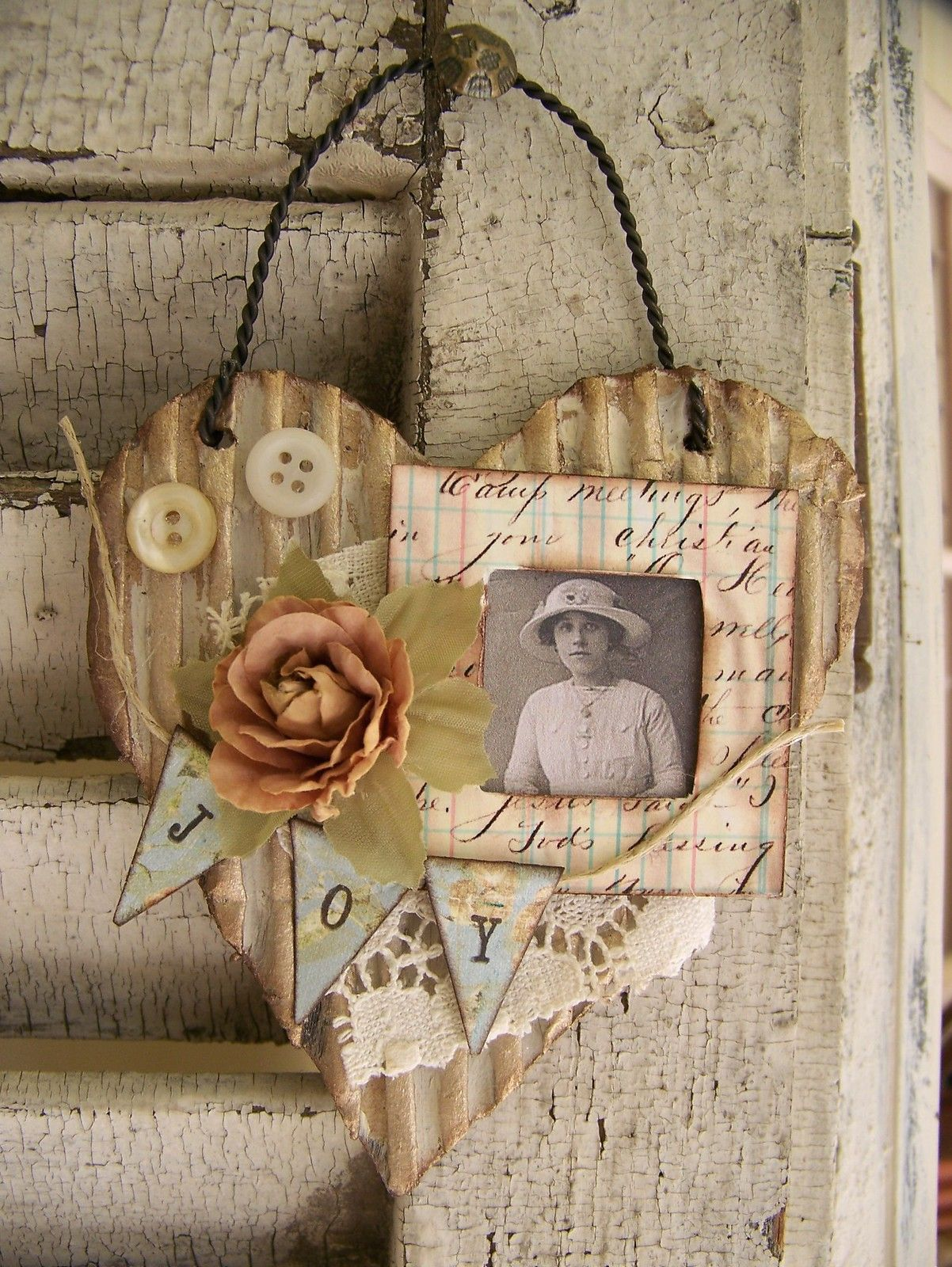 Vintage Style Heart Art Collages