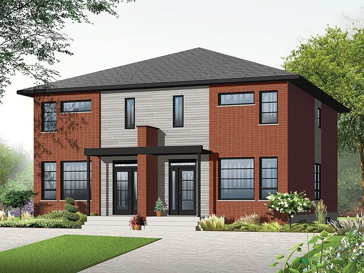 027m 0054 two story modern duplex house plan duplex for Semi duplex house plans
