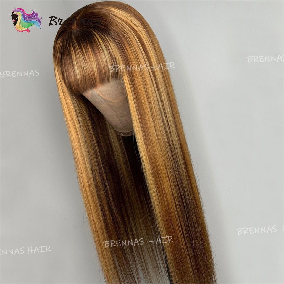 58 0us 40 Off Ombre Human Hair Wigs Highlight Straight Wig With Bangs Honey Blond Glueless Peruvian Remy Hair Full Machine Made Wigs For Women Full Machine W Wigs With Bangs Straight Wig