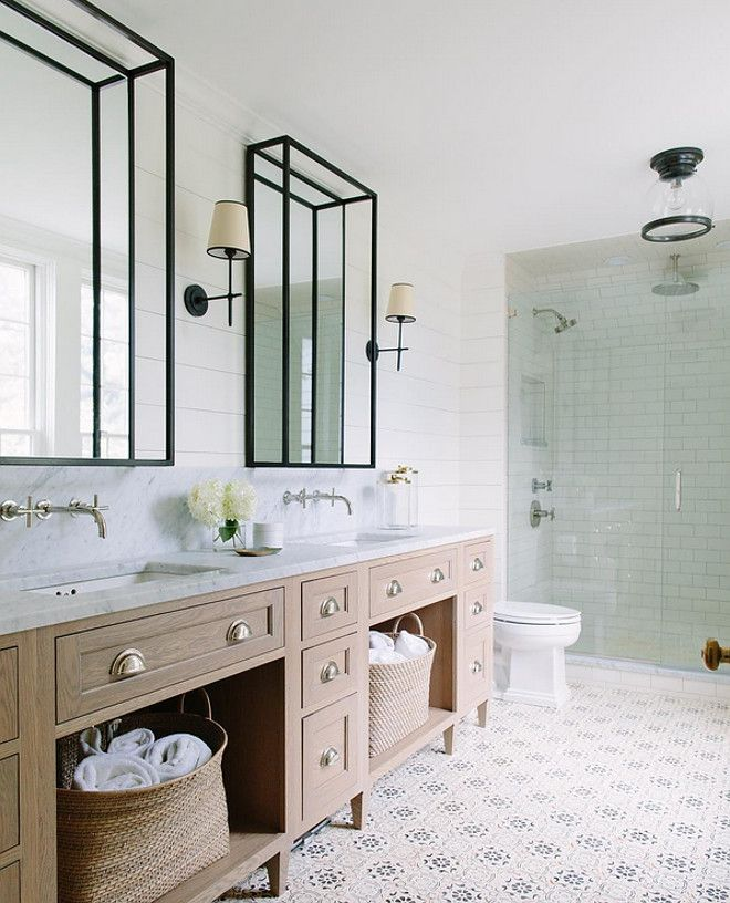 Shiplap Walls And Cement Tile L Coastal Bathrooms L Www