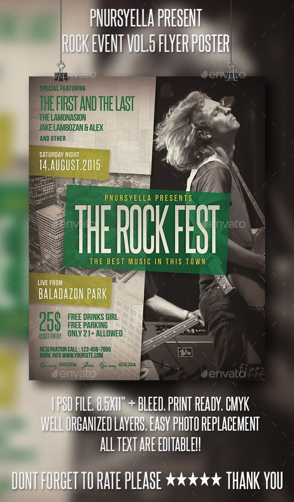Rock Event Flyer Poster Vol5 Event Flyers Flyer Template And Rock