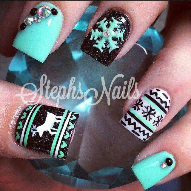Christmas Nails Not Acrylic: Winter Deer Nails Teal Blue Black White Snowflake