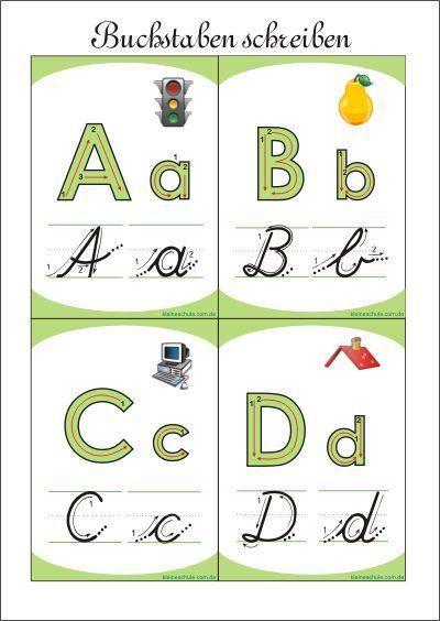 buchstaben schreiben  lernkarten für kinder  lernkarten
