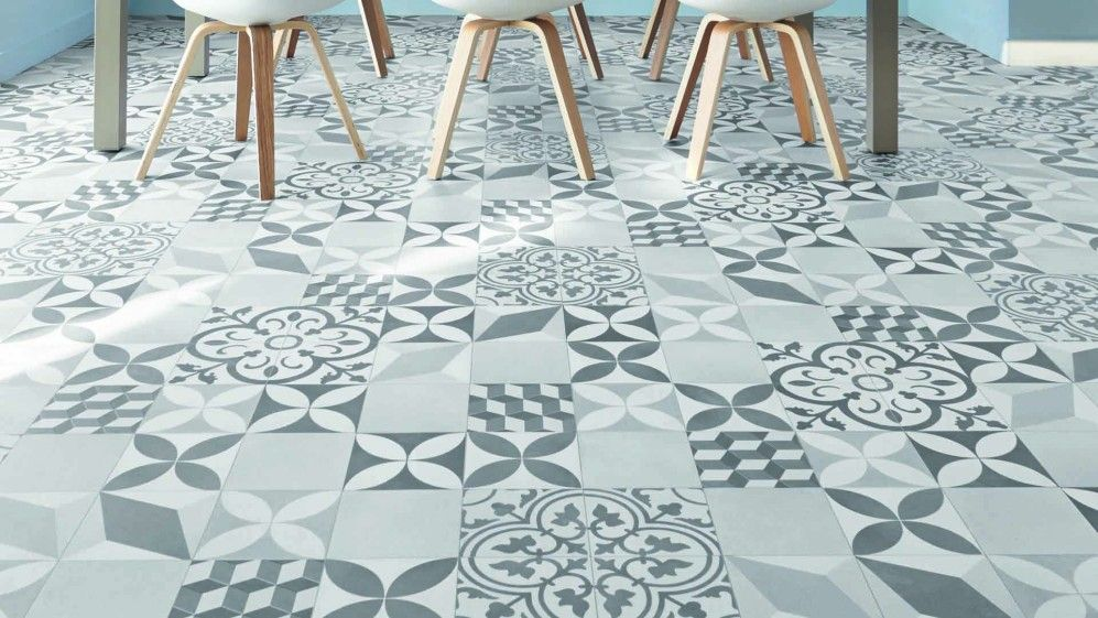 Sol vinyle imitation carreaux de ciment texas new feliz saint maclou sol pinterest - Linoleum imitation parquet ...