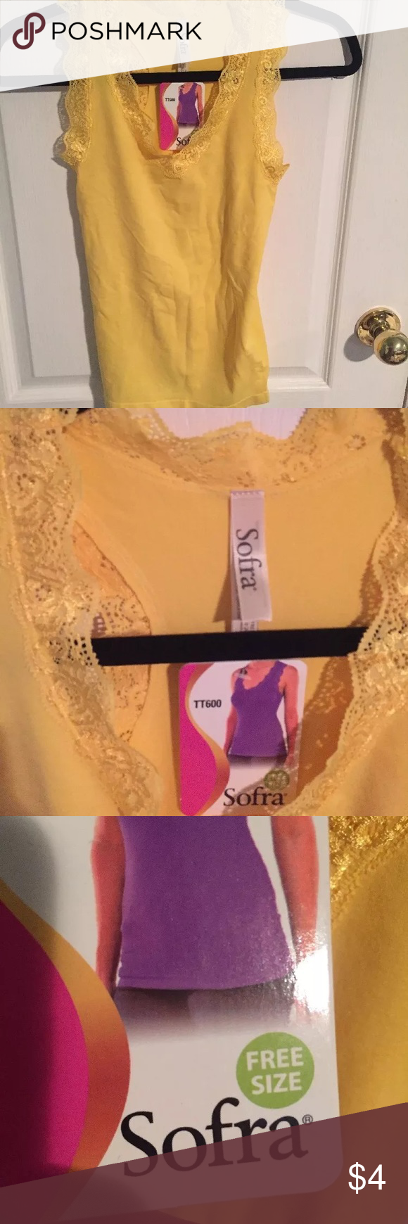 Nwt yellow sofra tank top with lace and racerback Yellow soft tank. Supposed to be one size fits all but I'm not sure. I've never even worn it because yellow is not my color. It's super soft and would look cute under a jacket or sweater. Sofra Tops Tank Tops