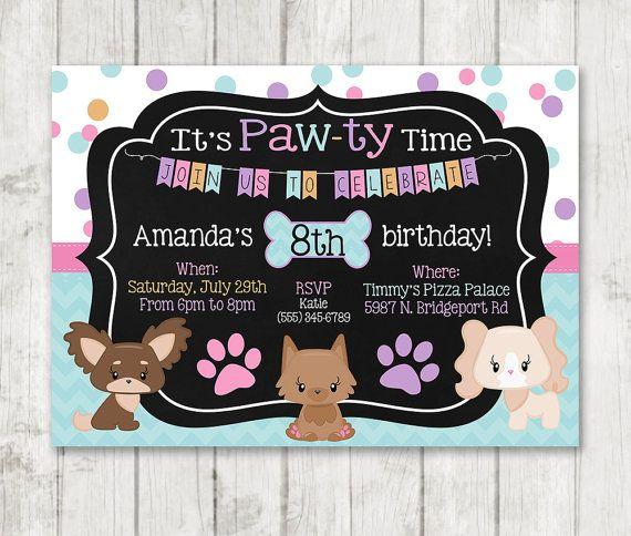 Girl puppy birthday invitations printable dog invitations custom girl puppy birthday invitations printable dog by happybarn on etsy stopboris Image collections