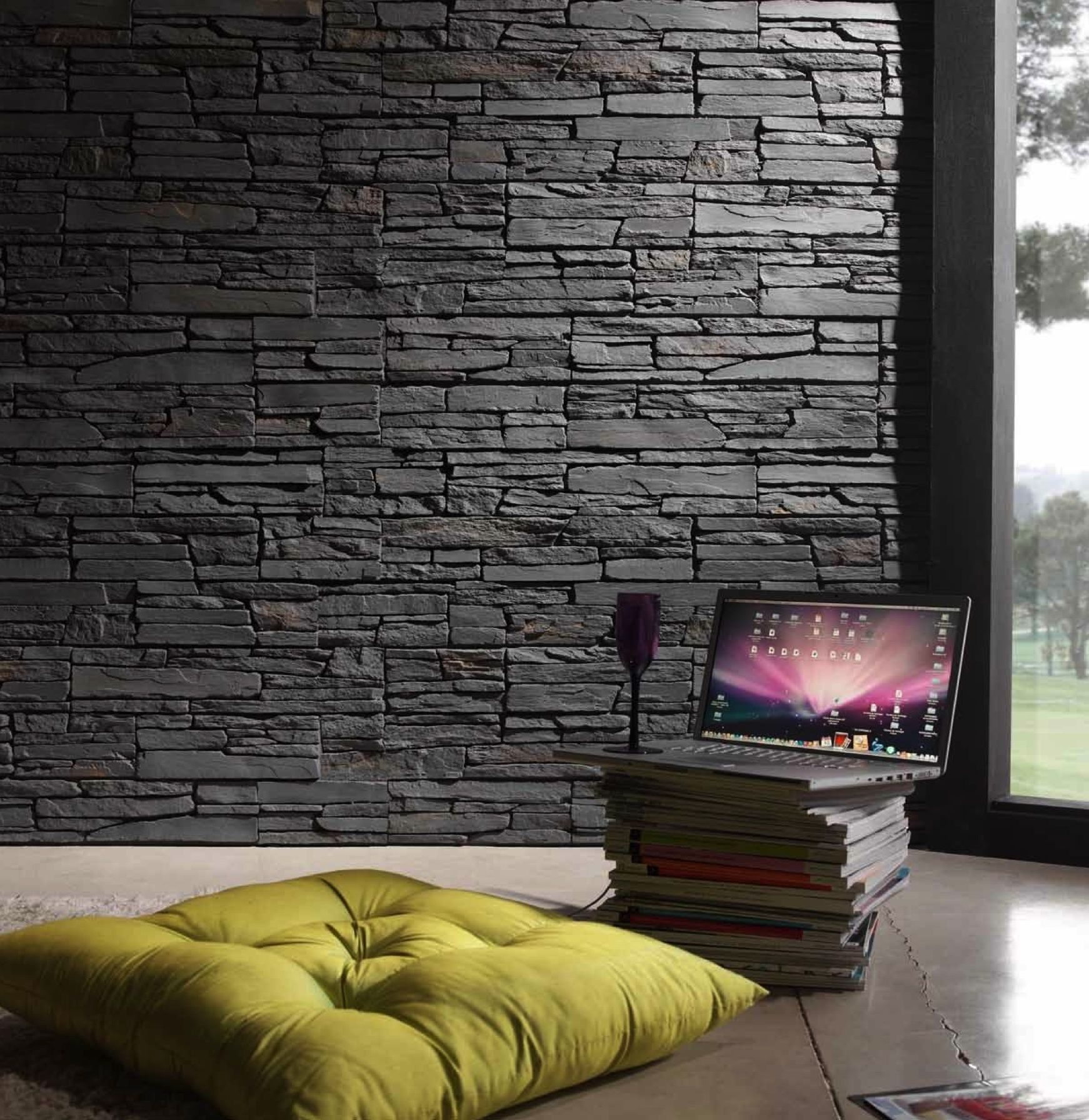 Faux slate wall google search basement ideas pinterest slate walls and conservatories - Ideas for covering wallpaper ...