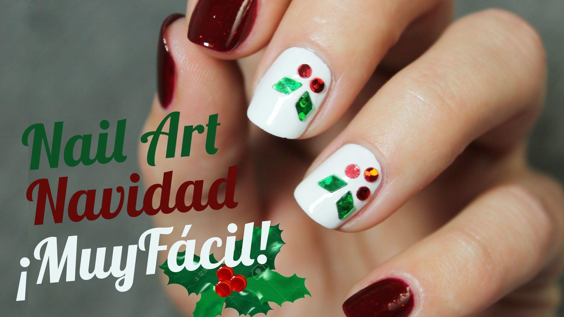 Decoración de uñas Navideña paso a paso | MUY FÁCIL | Uñas | Pinterest