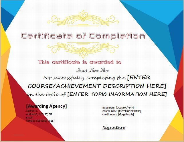 Certificate of Completion for MS Word DOWNLOAD at