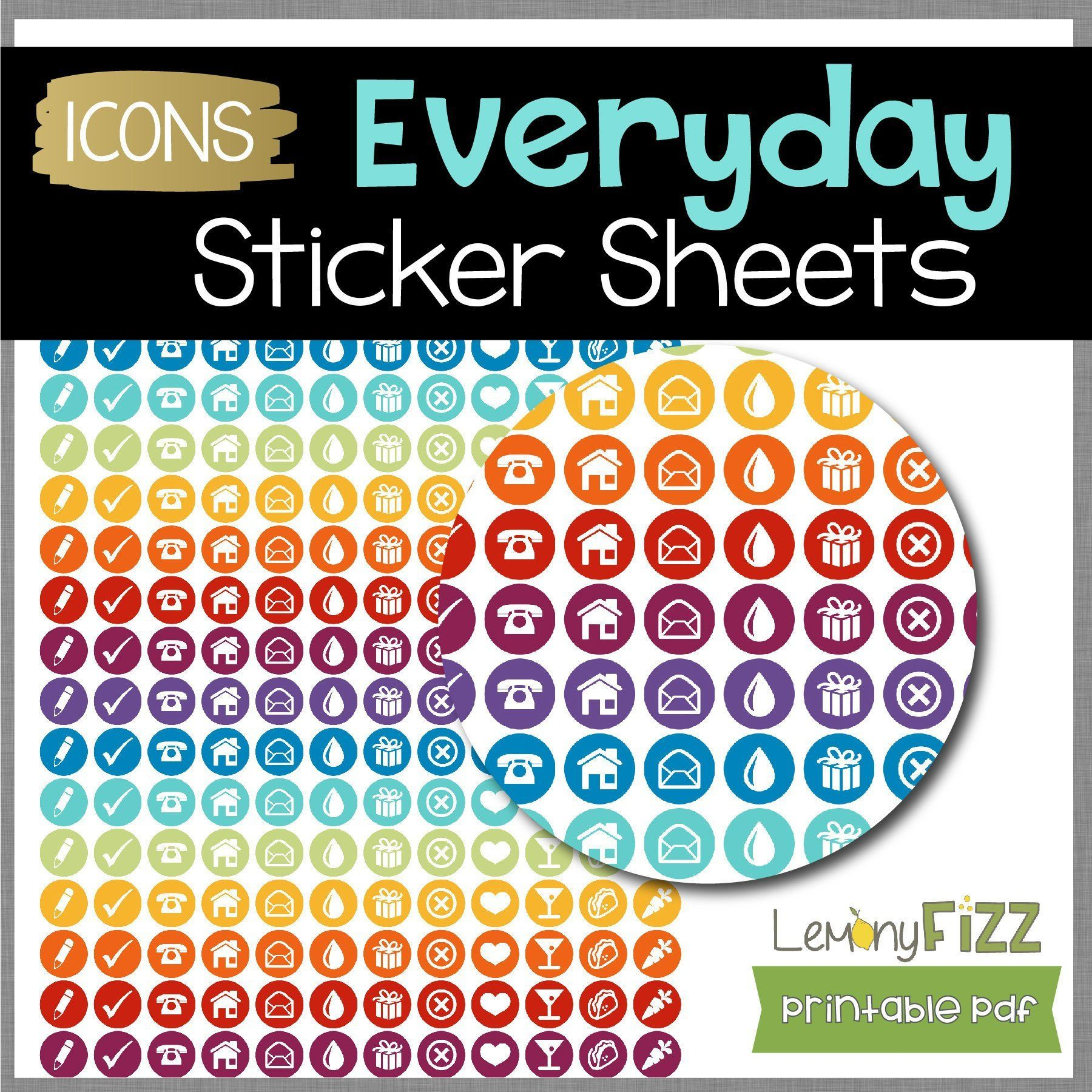Everyday Rainbow Circle Icon Planner Stickers Sheets