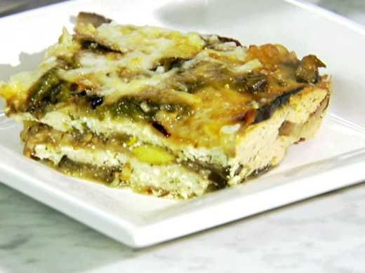 Grilled eggplant and squash replace the pasta in Sandra's Veggie Lasagna. Watch on ulive