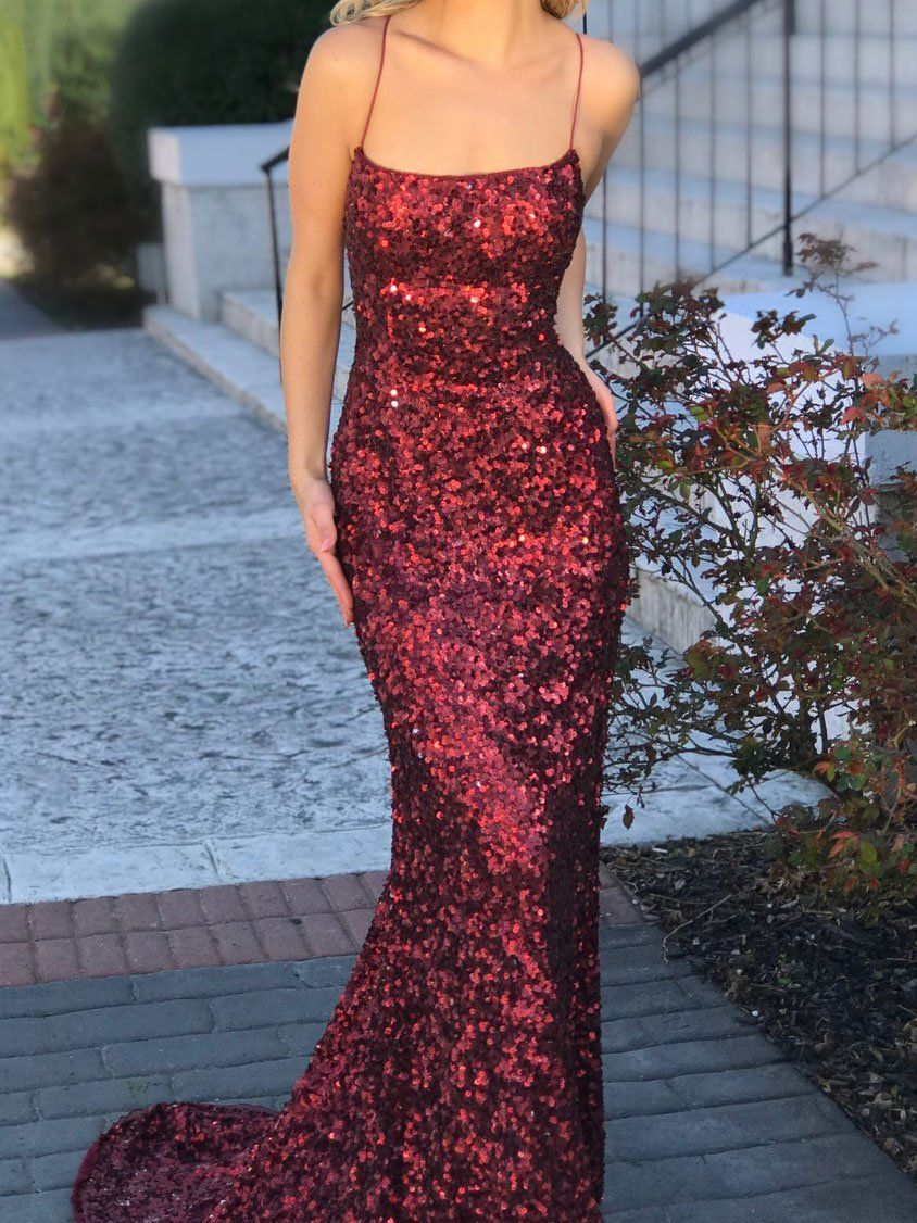 Burgundy mermaid formal dresses sexy backless long sparkly sequins