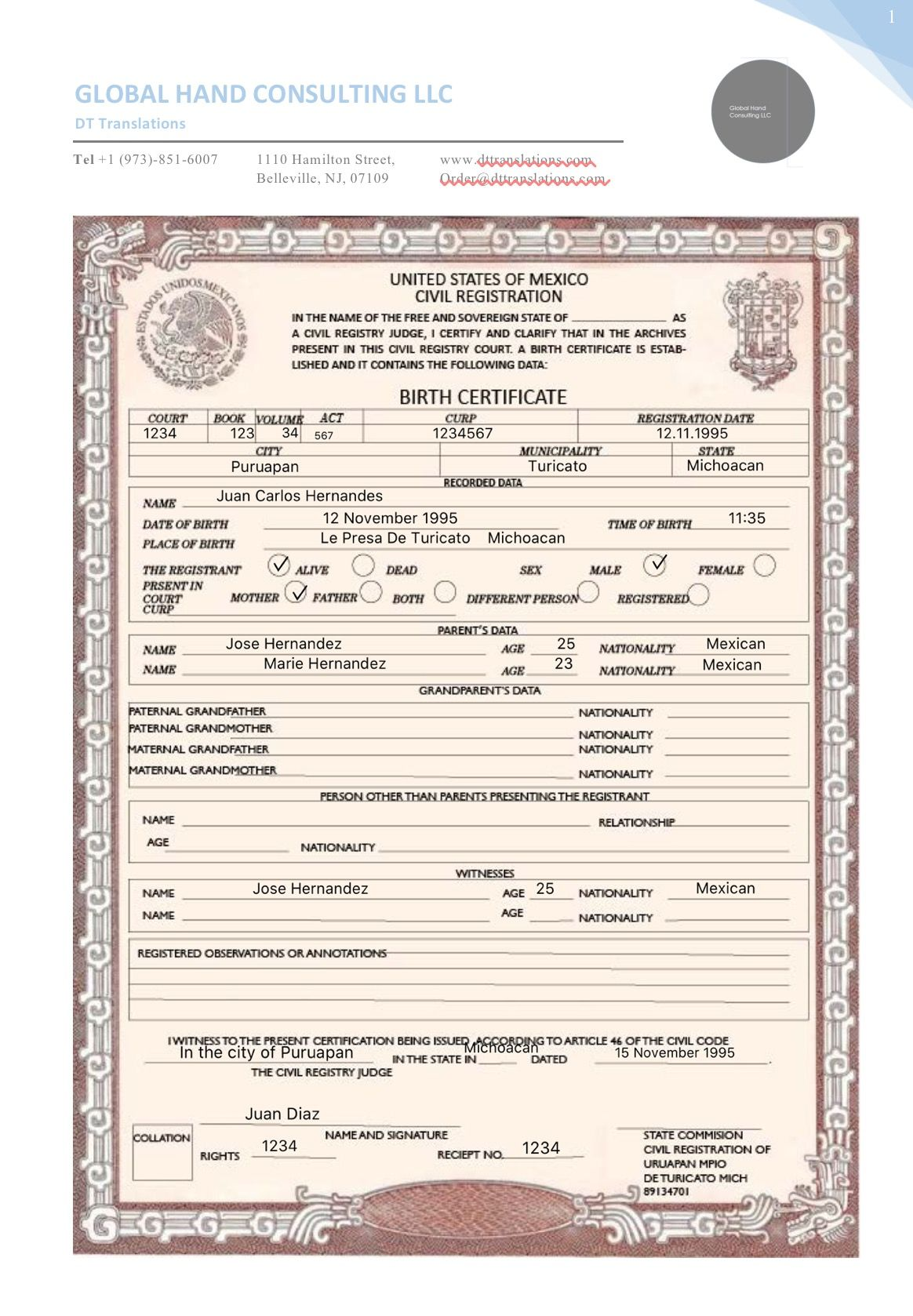 Mexican birth certificate translated if you need a certified or notarized translation of any for Mexican birth certificate template