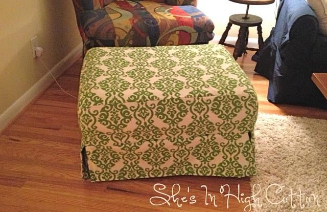 DIY Ottoman Slipcover tutorial - made without creating a pattern!