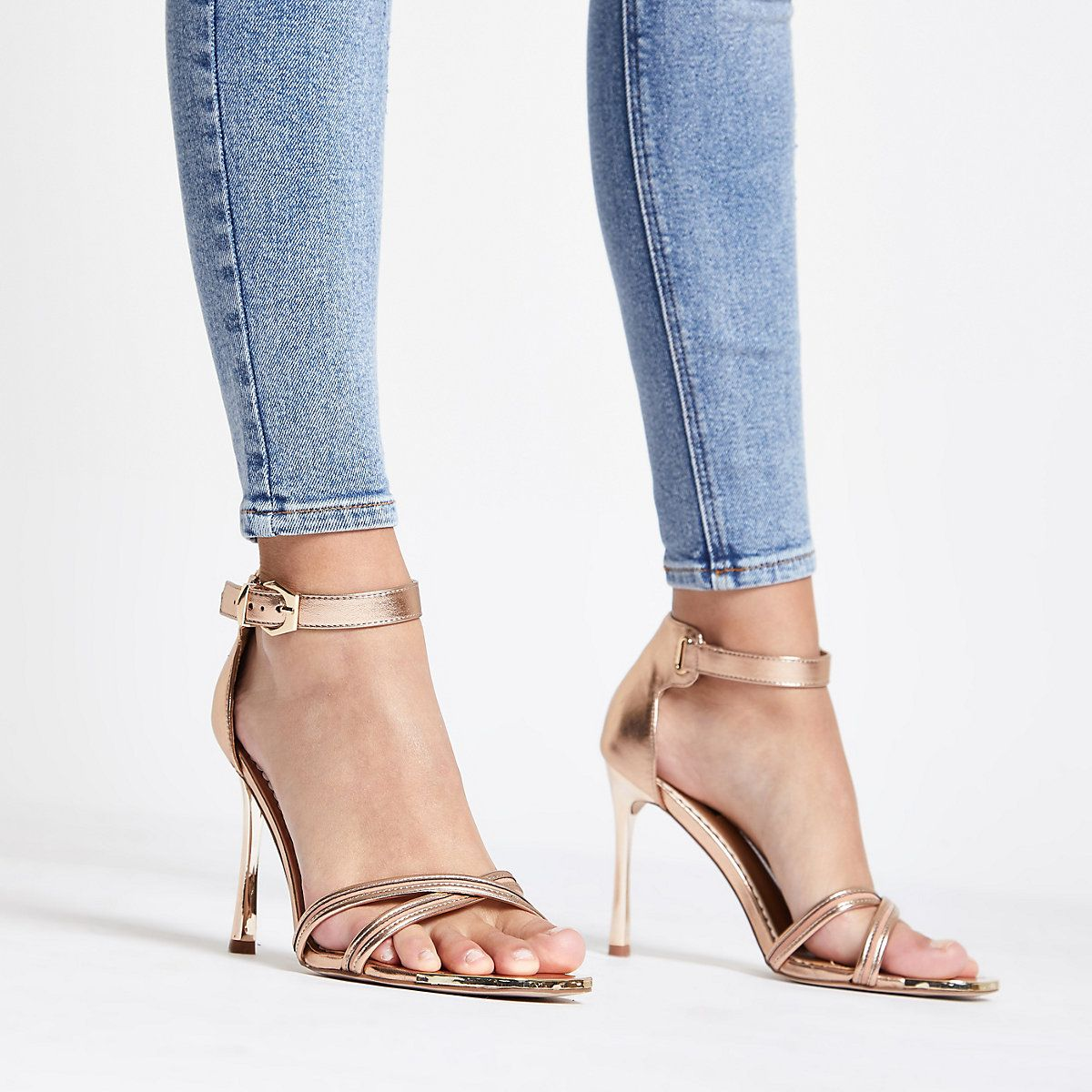 550e3db61fd6 Rose gold wide fit barely there sandals - Sandals - Shoes   Boots - women