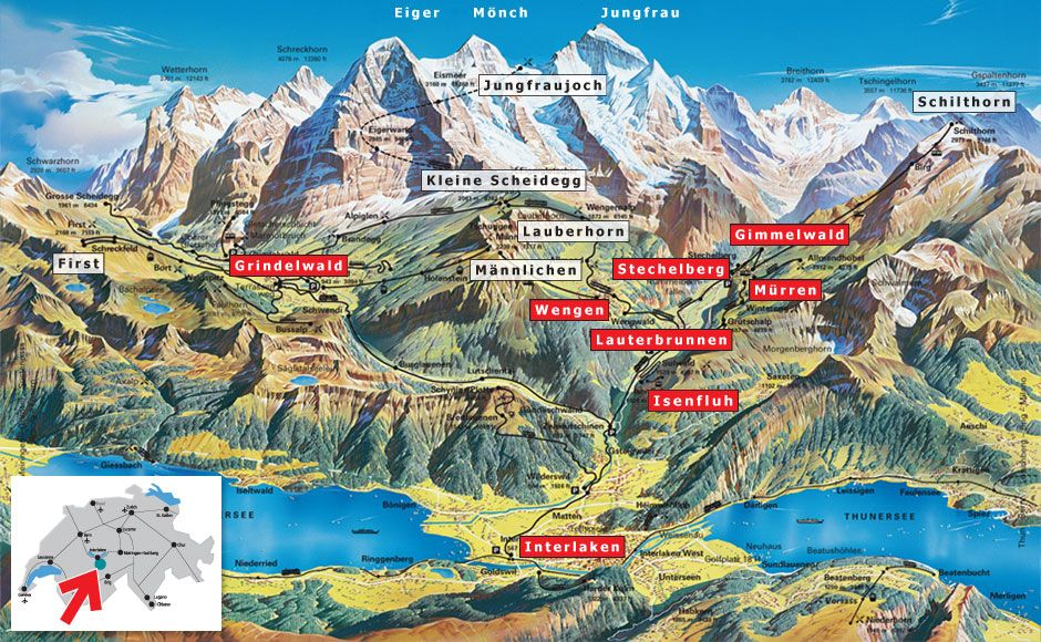 One of my favourite Swiss mountain ranges: the Jungfrau massive ...