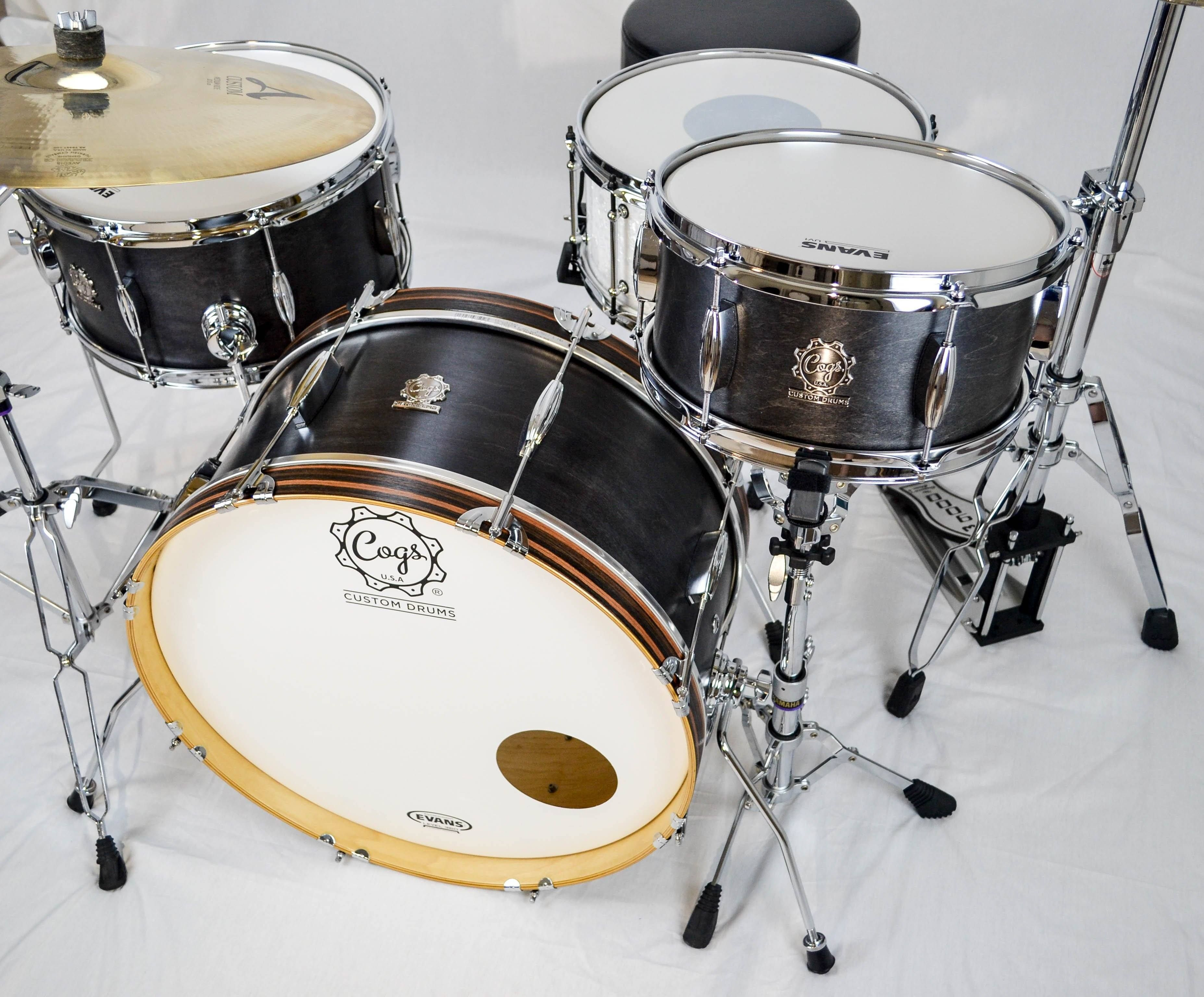 Cogs Vintage Black Satin Drum Set  85f262506
