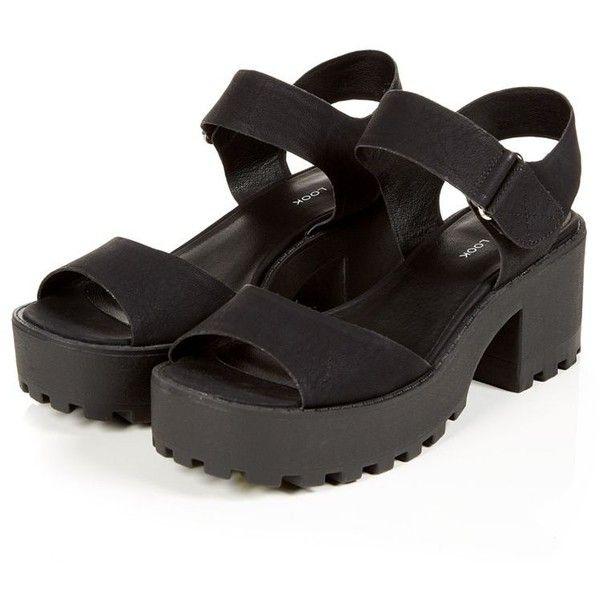 Shoekandi Summer Sandals Cleated Sole Block Low Heel