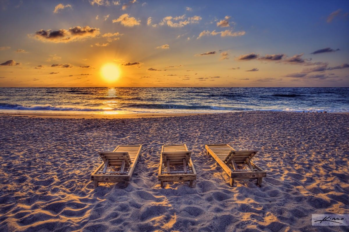 Beach sunset with chairs - Palm Tag Wallpapers End Beautiful Day Beach Sunset Ocean Chairs