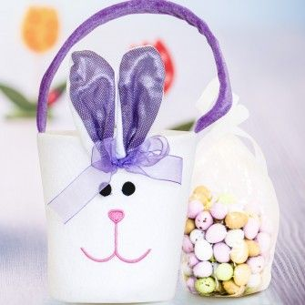 Personalised Purple Bunny Bucket with Easter Egg Chocolates