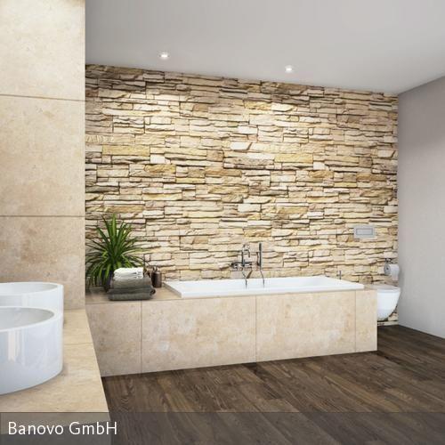 Steinmauer als Highlight für das rustikale Feeling im Badezimmer