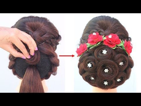 new juda hairstyle for gown, lehenga , saree | party hairstyles | easy hairstyles | simple ...