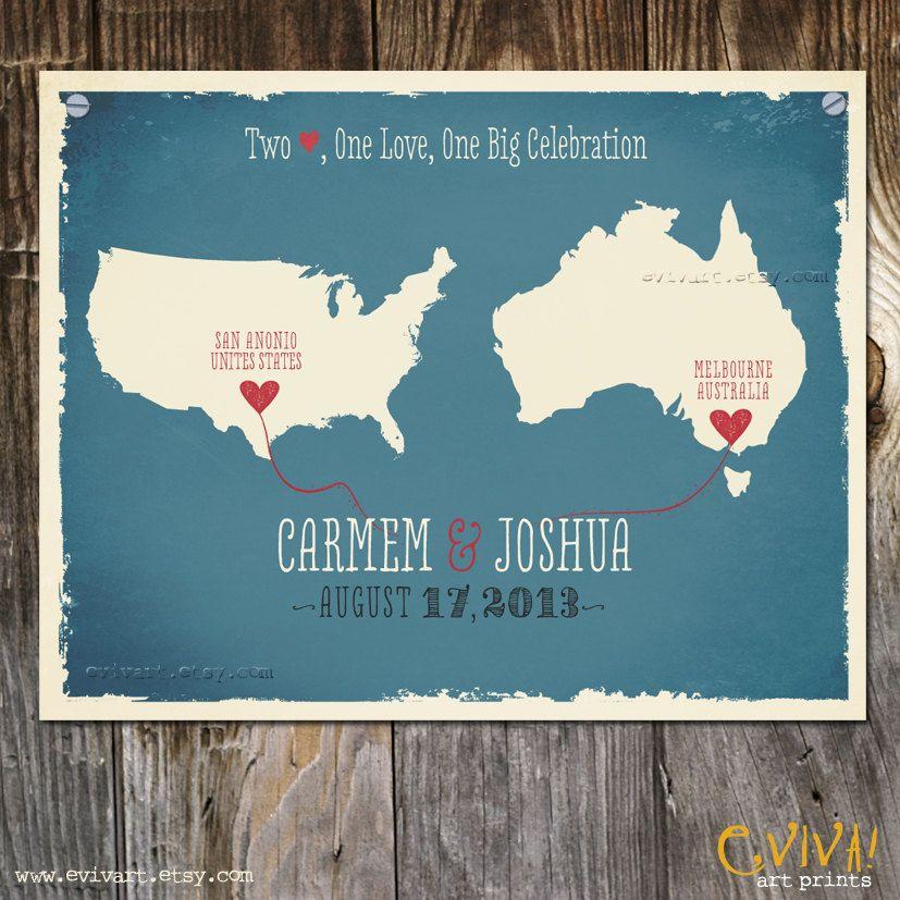 USA And Australia Custom Wedding Print