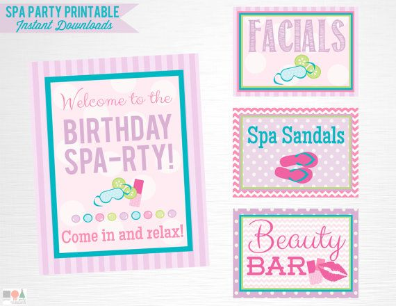 Spa Birthday Party Printable Signs Door Sign Facials Sandals Beauty Bar Digital Instant Download