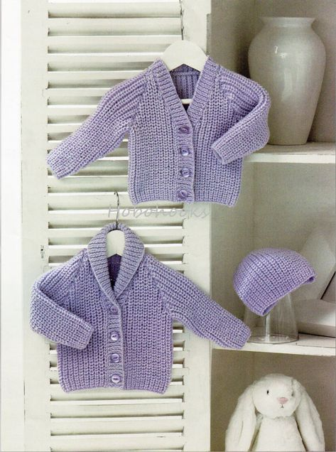 Baby Knitting Pattern pdf Baby Ribbed Cardigans Hat Shawl ...