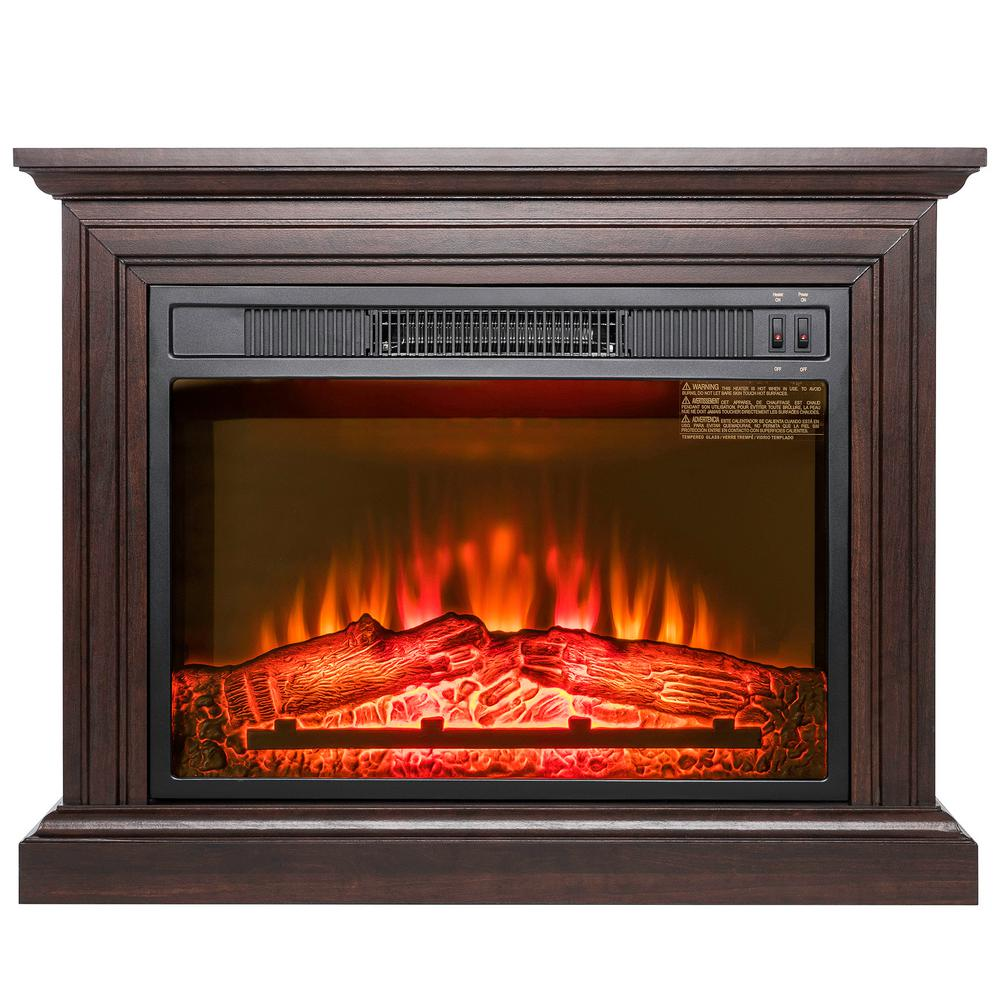 Akdy 32 In Freestanding Electric Fireplace Heater In Brown With