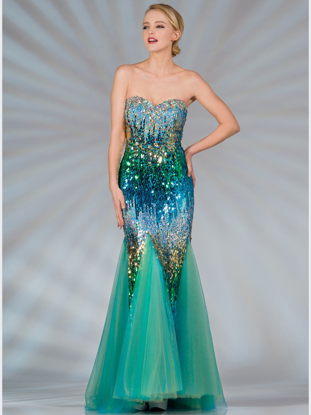 Blue And Green Sequin Mermaid Prom Dress. Style # Jc2517