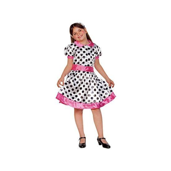 Voordelig polkadot jurkje voor meiden. Wit jurkje met zwarte stippen en roze details. Het jurkje past perfect in het 50s thema. Materiaal: 100% polyester.