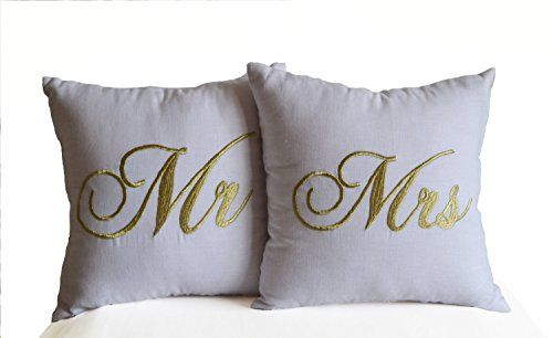 Personalized Mr Mrs Love Embroidered Pillow Covers Decorative Throw Cases Handcrafted Wedding