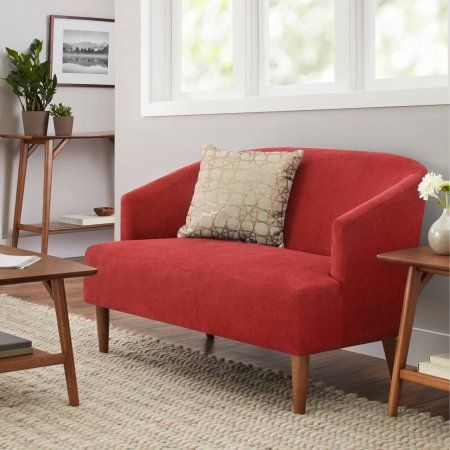 Chaise Sofa Better Homes and Gardens Reed Mid Century Modern Loveseat Tomato Red
