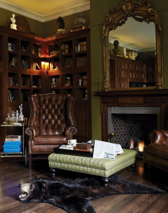 English Study Room: English Manor -- Not So Much The Bear Rug. Everything Else