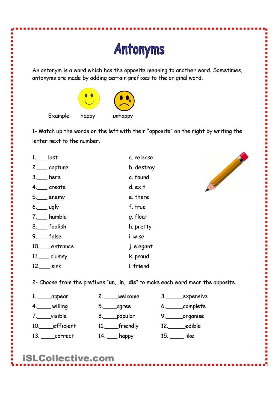Antonyms Review Ingles