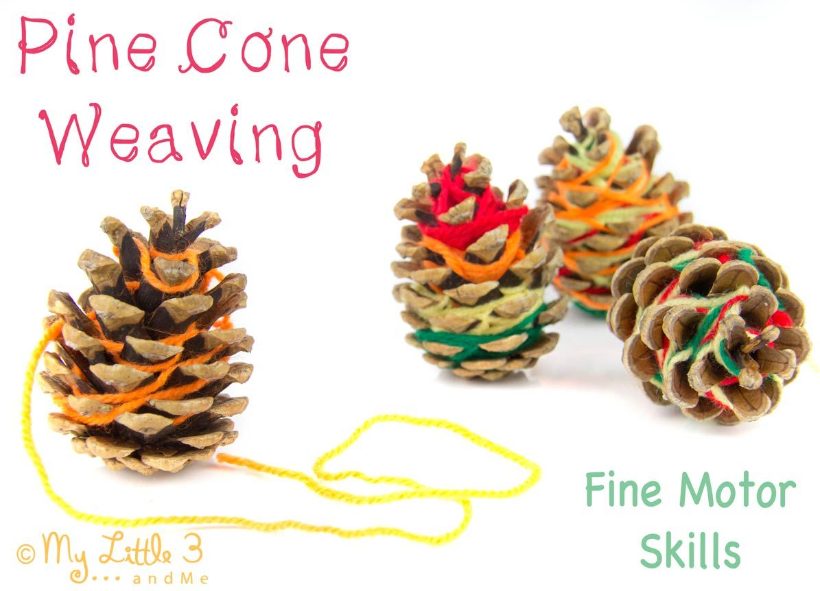 Nature inspired craft pine cone weaving pine cone for Pine cone christmas ornaments for kids